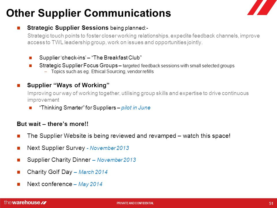 Other Supplier Communications