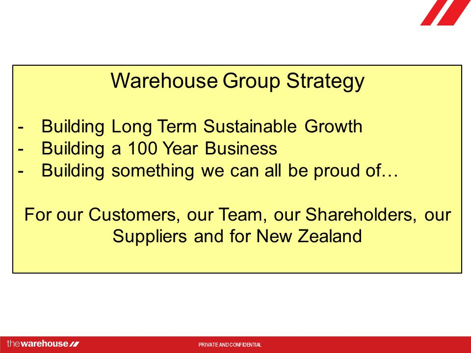 Warehouse Group Strategy