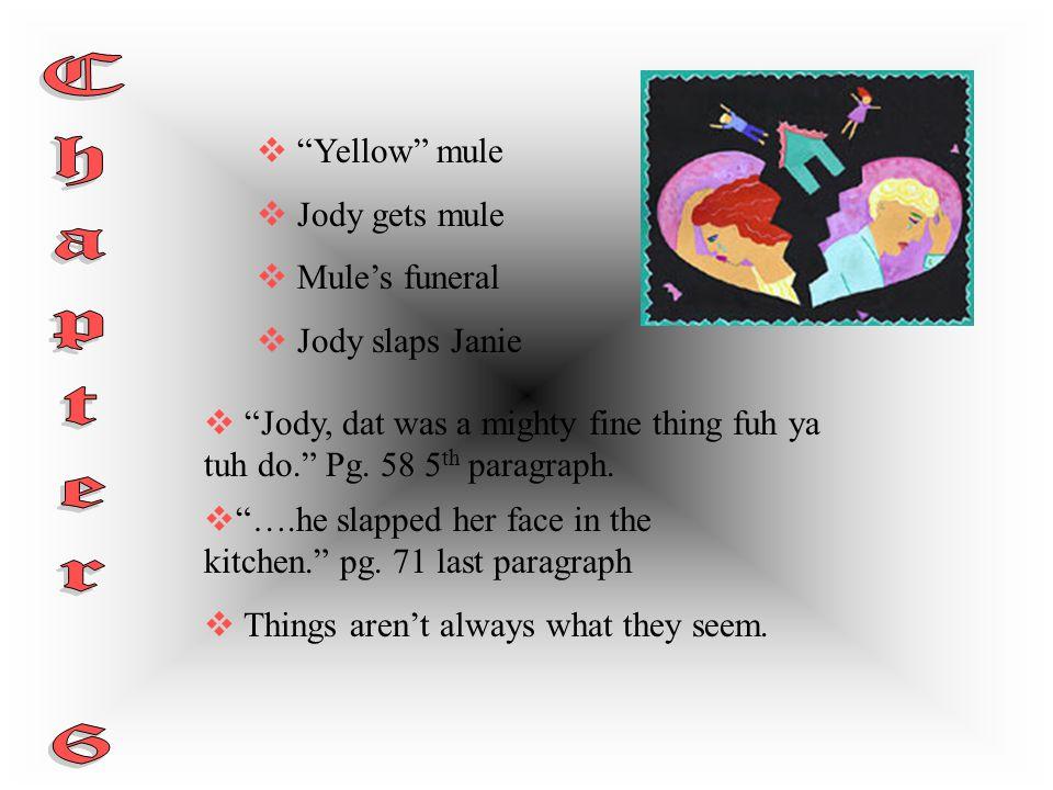 Chapter 6 Yellow mule Jody gets mule Mule's funeral Jody slaps Janie