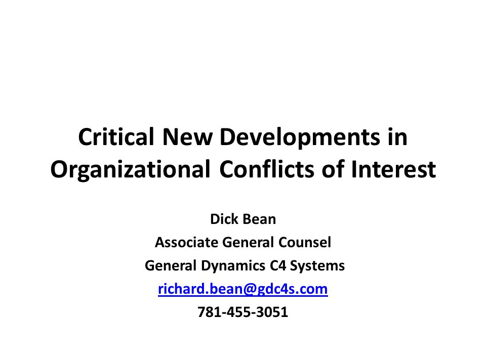 Critical New Developments in Organizational Conflicts of Interest