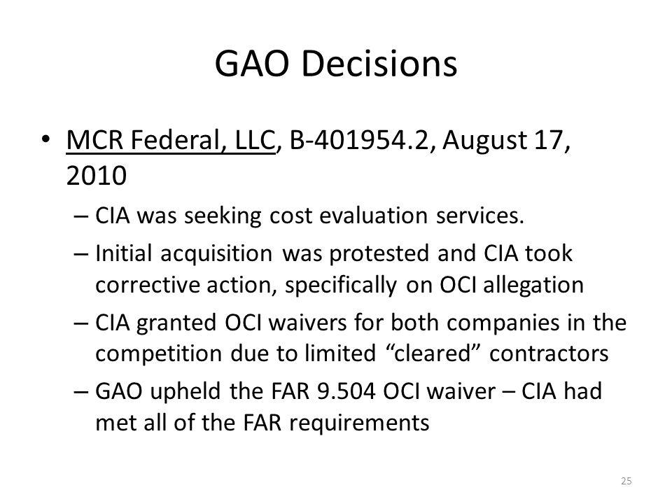 GAO Decisions MCR Federal, LLC, B-401954.2, August 17, 2010
