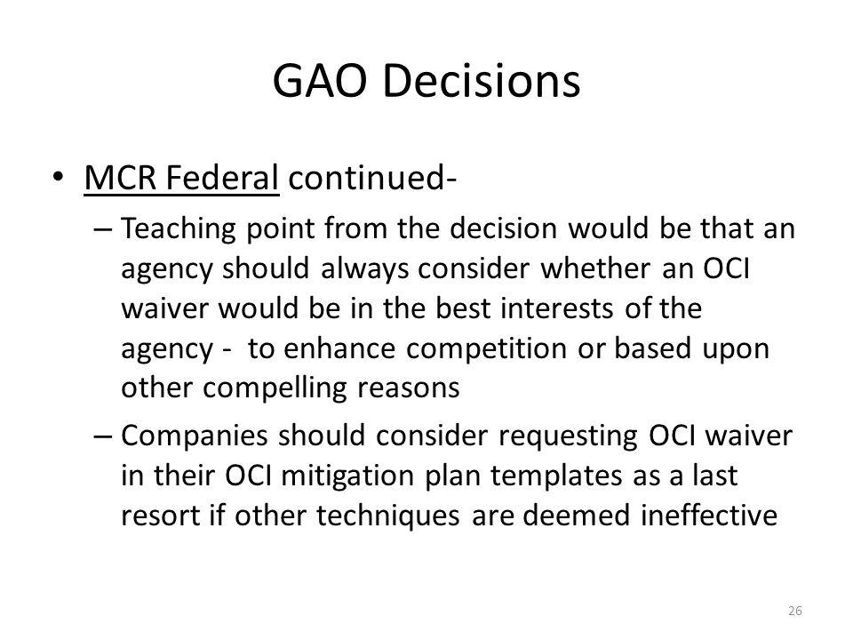 GAO Decisions MCR Federal continued-
