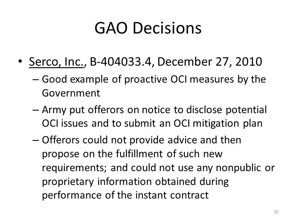 GAO Decisions Serco, Inc., B-404033.4, December 27, 2010