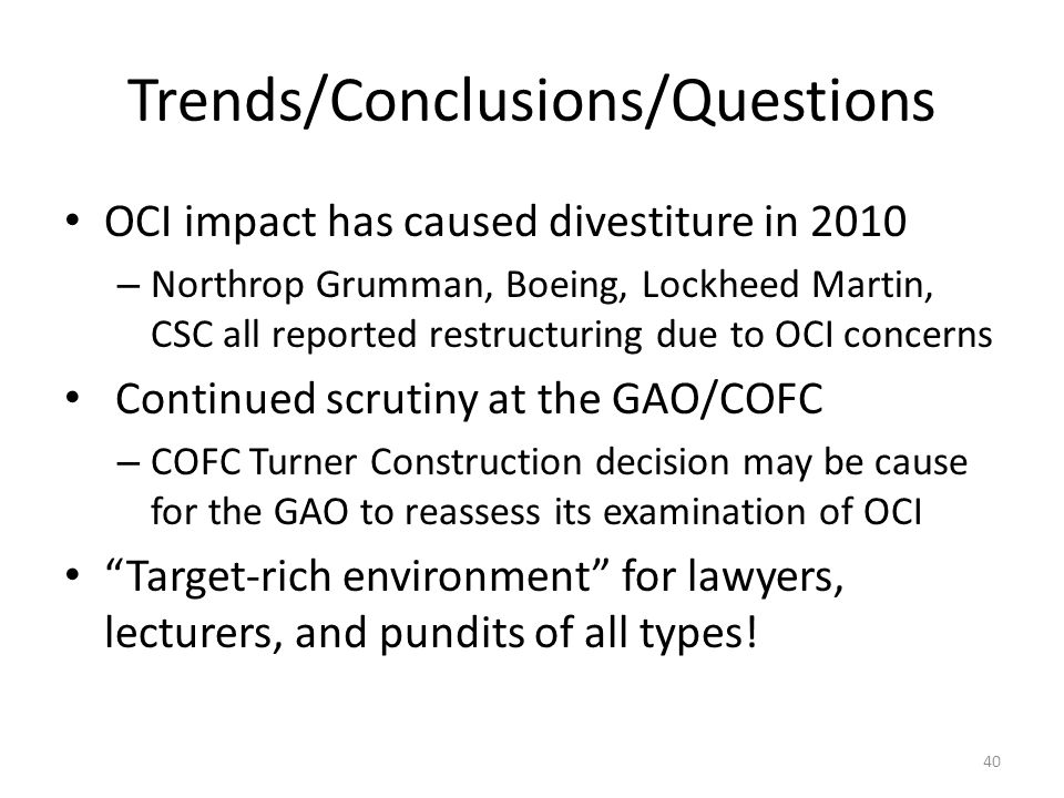Trends/Conclusions/Questions