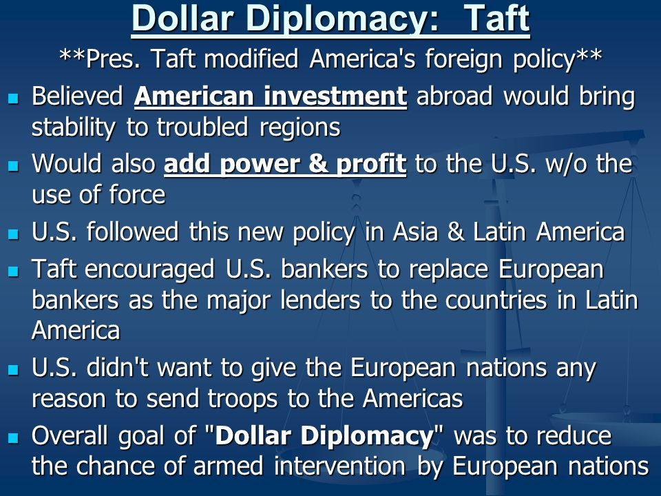 Dollar Diplomacy: Taft