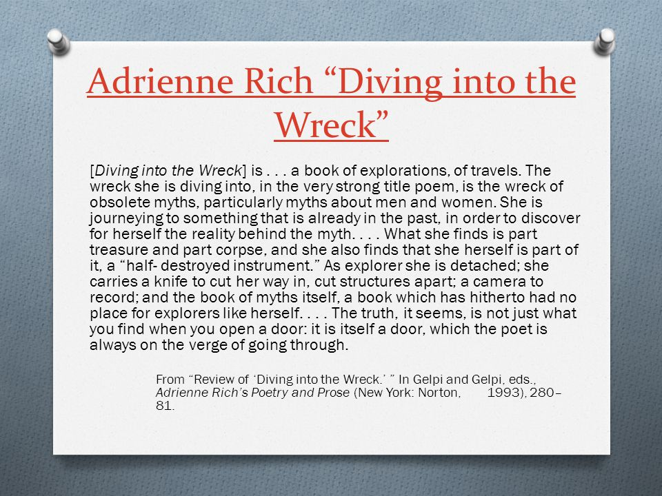 Adrienne Rich Diving into the Wreck