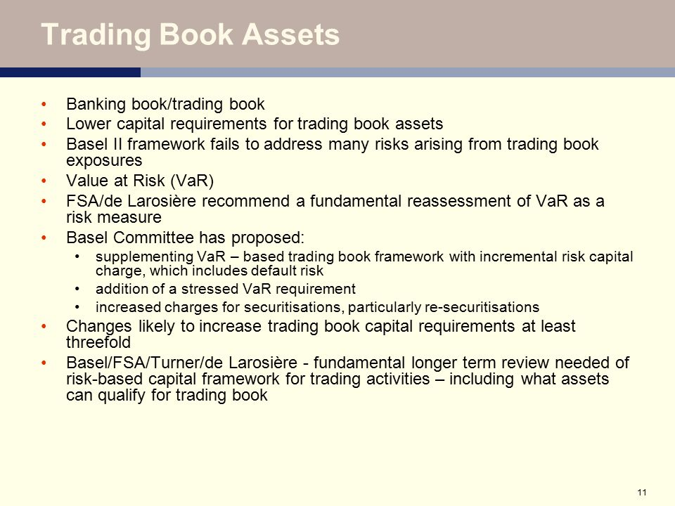 Trading Book Assets Banking book/trading book