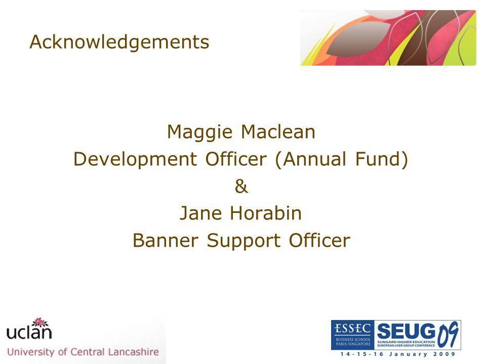 Development Officer (Annual Fund) & Jane Horabin