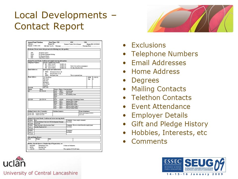 Local Developments – Contact Report