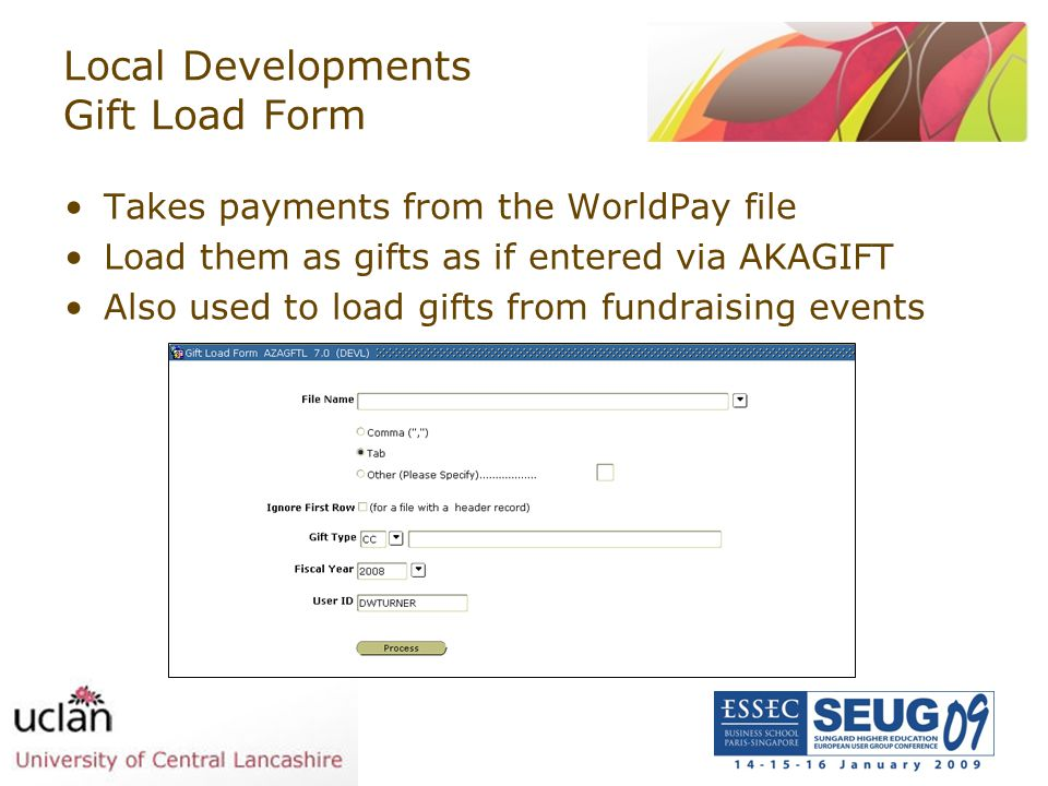 Local Developments Gift Load Form