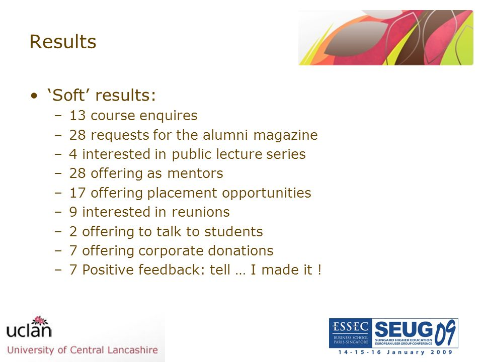 Results 'Soft' results: 13 course enquires