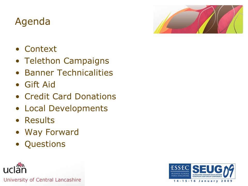 Agenda Context Telethon Campaigns Banner Technicalities Gift Aid