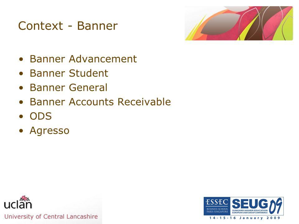 Context - Banner Banner Advancement Banner Student Banner General