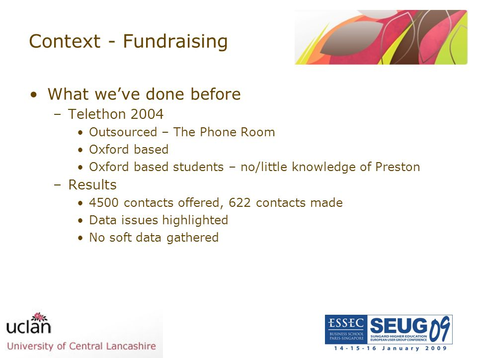 Context - Fundraising What we've done before Telethon 2004 Results