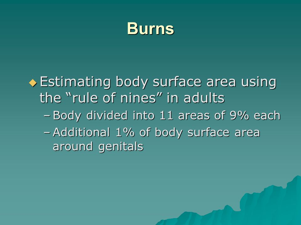 Burns Estimating body surface area using the rule of nines in adults