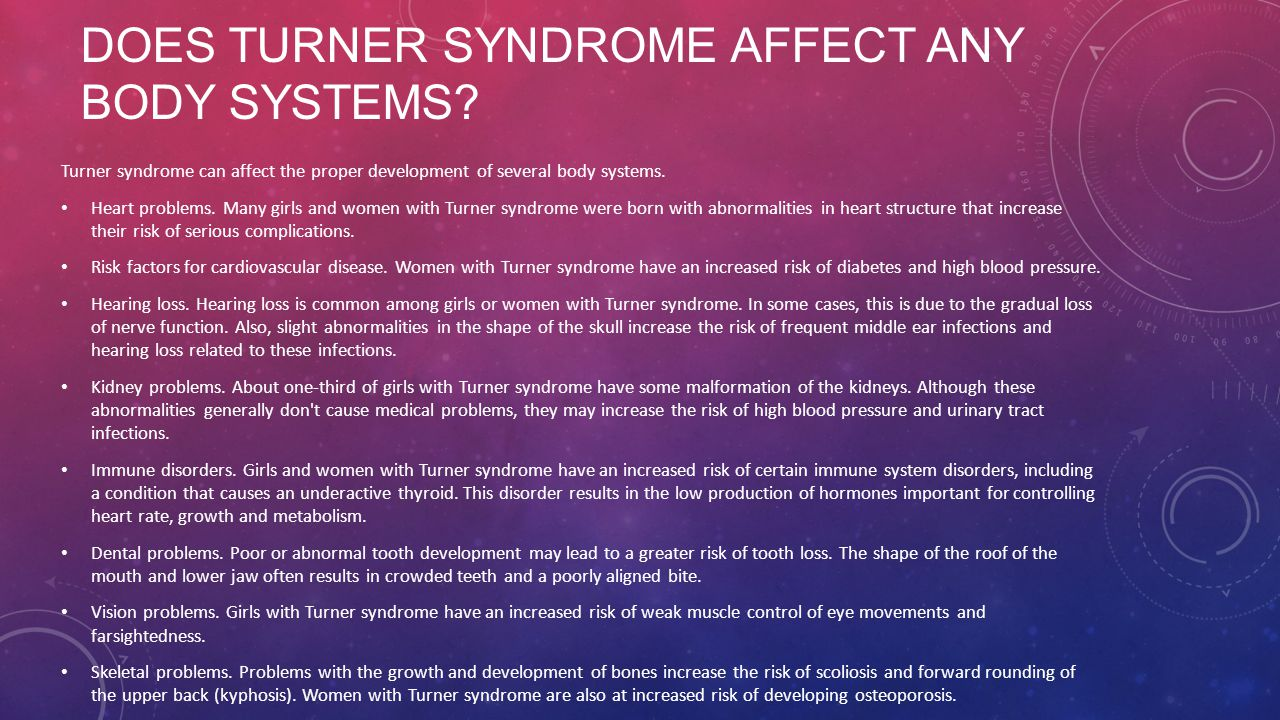 Does turner syndrome affect any body systems