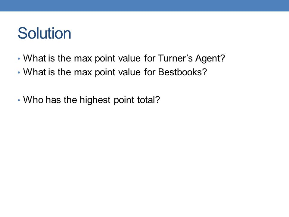 Solution What is the max point value for Turner's Agent