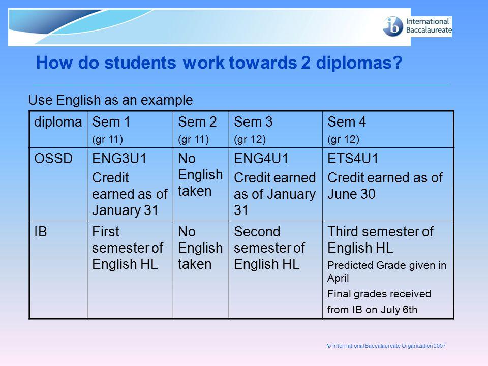 How do students work towards 2 diplomas