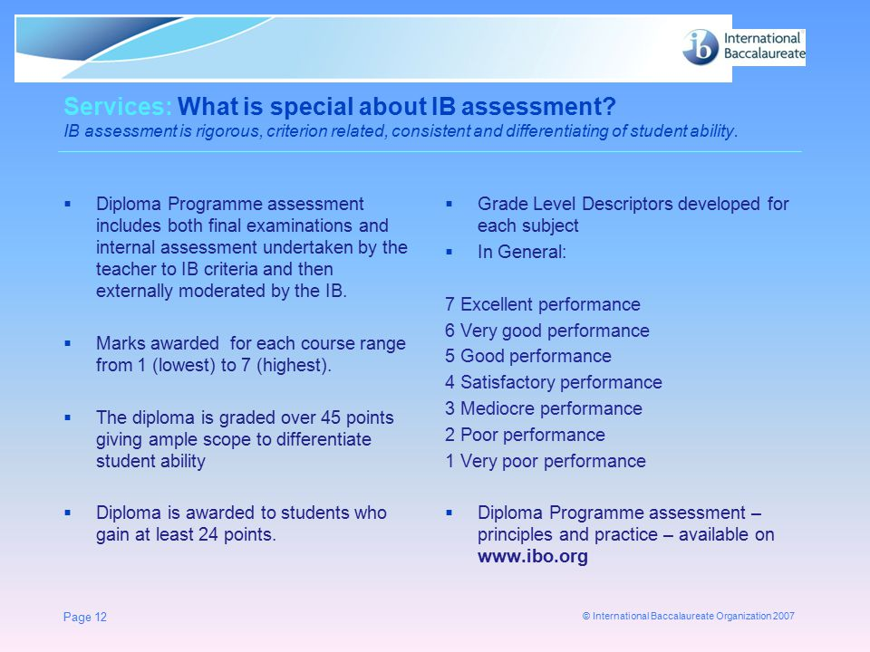 Services: What is special about IB assessment