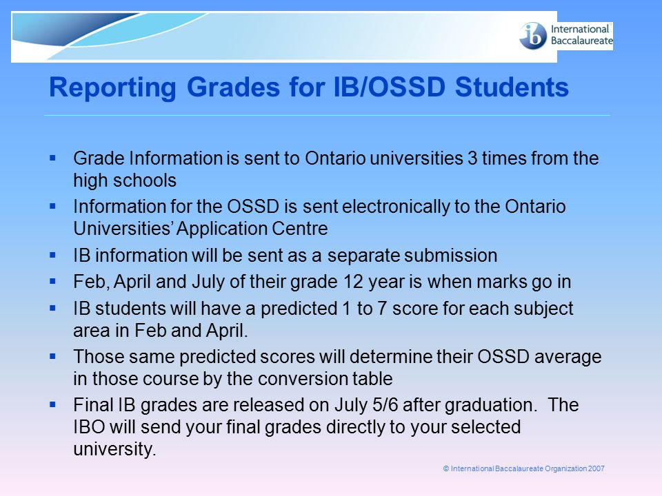 Reporting Grades for IB/OSSD Students
