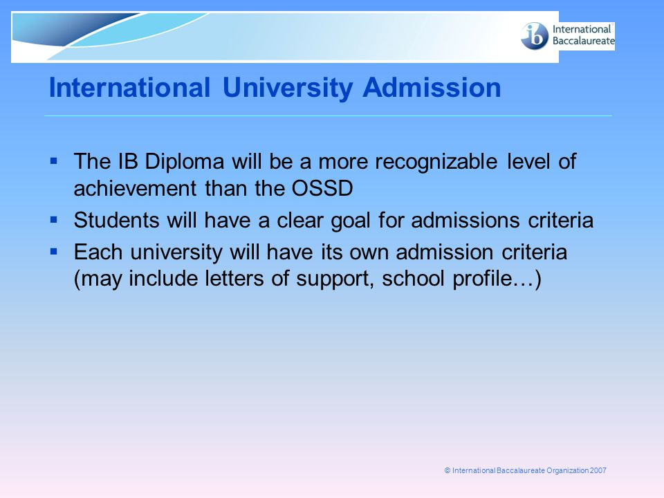 International University Admission