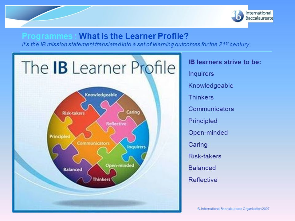 Programmes : What is the Learner Profile