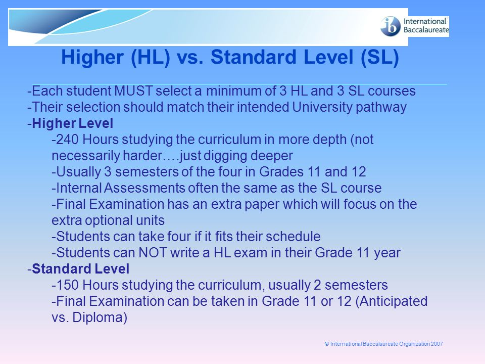 Higher (HL) vs. Standard Level (SL)