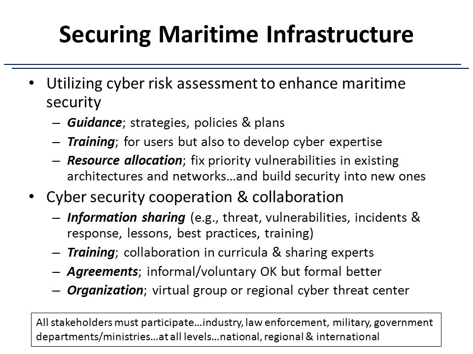 Securing Maritime Infrastructure