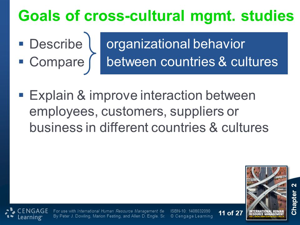 Goals of cross-cultural mgmt. studies