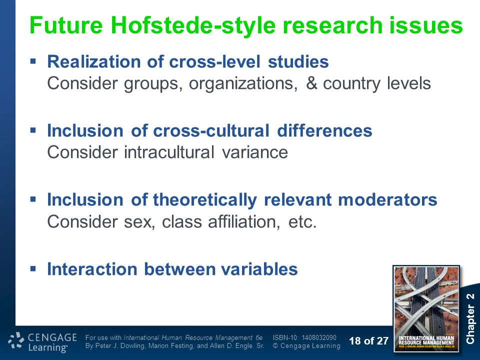 Future Hofstede-style research issues