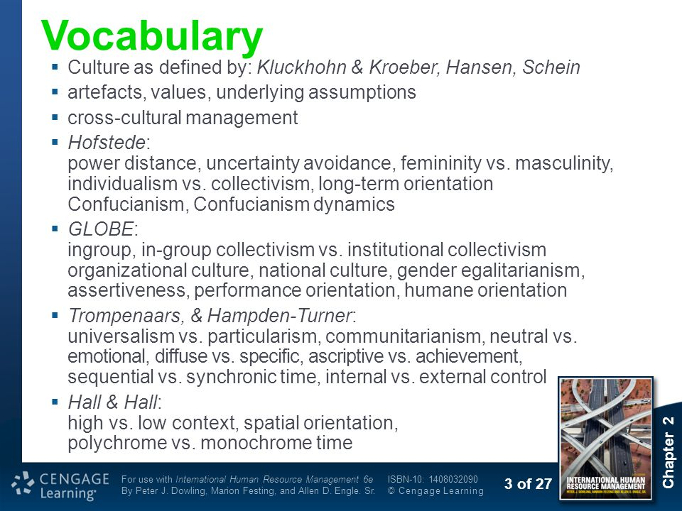Vocabulary Culture as defined by: Kluckhohn & Kroeber, Hansen, Schein