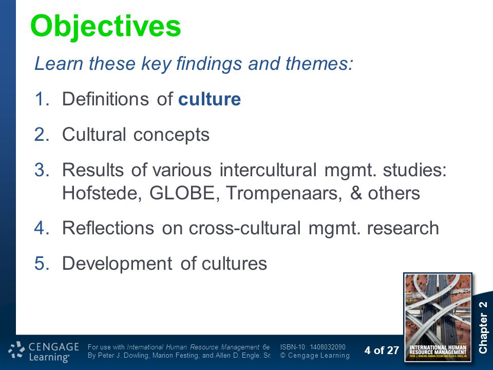 Objectives Learn these key findings and themes: Definitions of culture