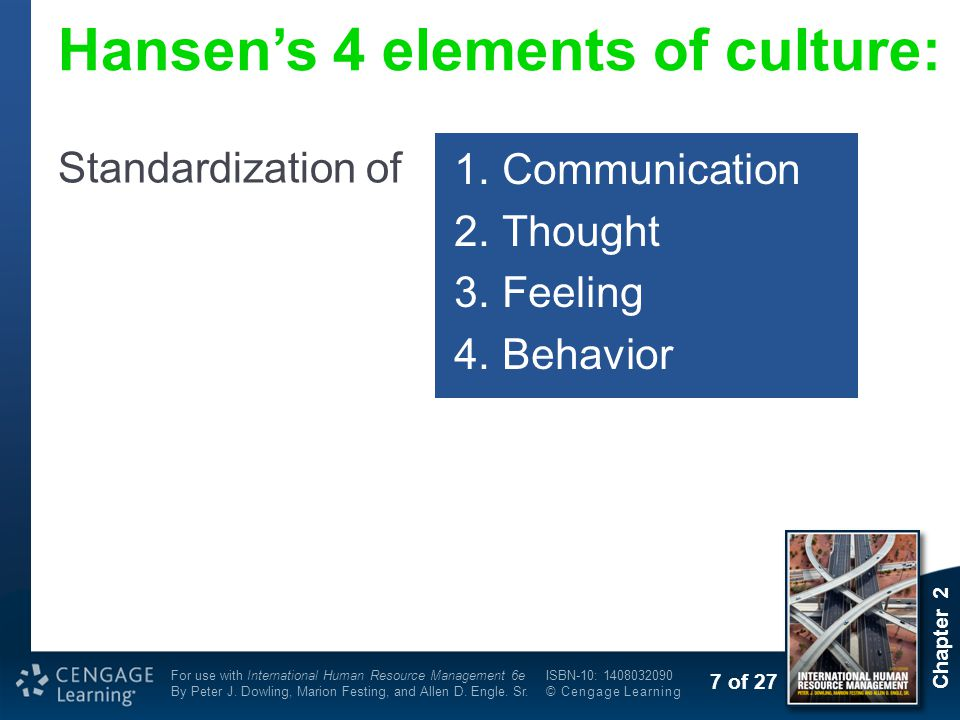 Hansen's 4 elements of culture: