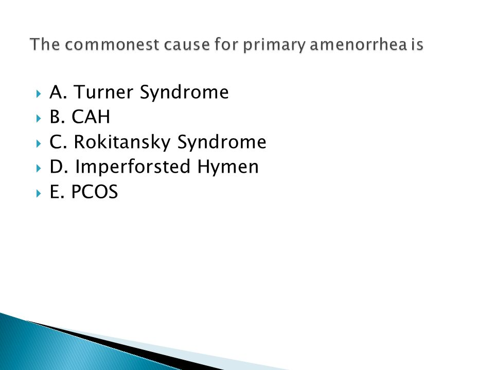 The commonest cause for primary amenorrhea is