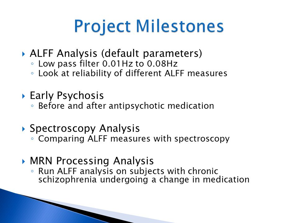 Project Milestones ALFF Analysis (default parameters) Early Psychosis