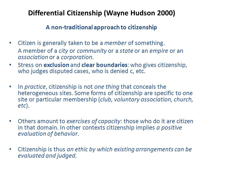 Differential Citizenship (Wayne Hudson 2000)