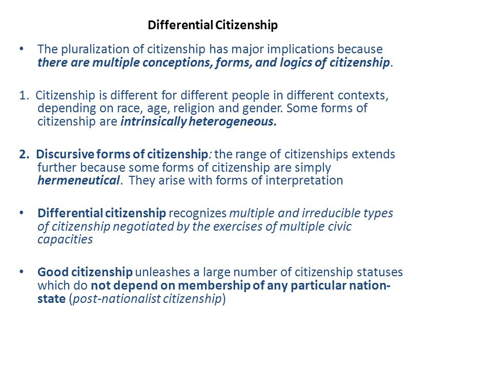 Differential Citizenship