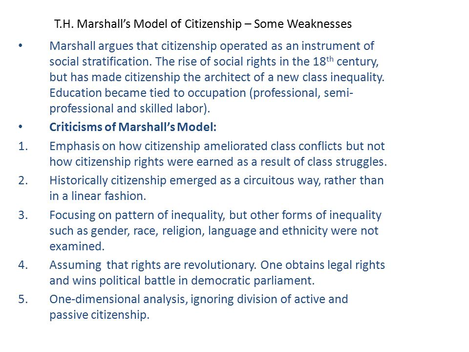 T.H. Marshall's Model of Citizenship – Some Weaknesses