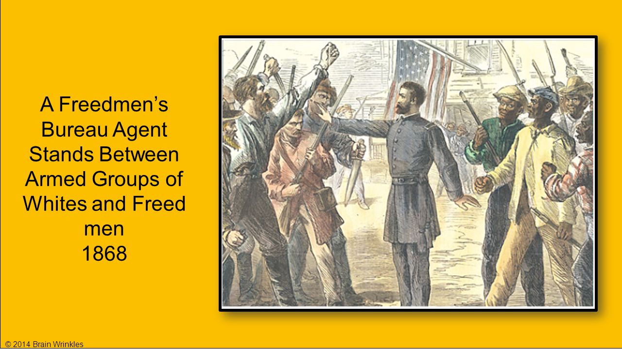 A Freedmen's Bureau Agent Stands Between Armed Groups of Whites and Freed men