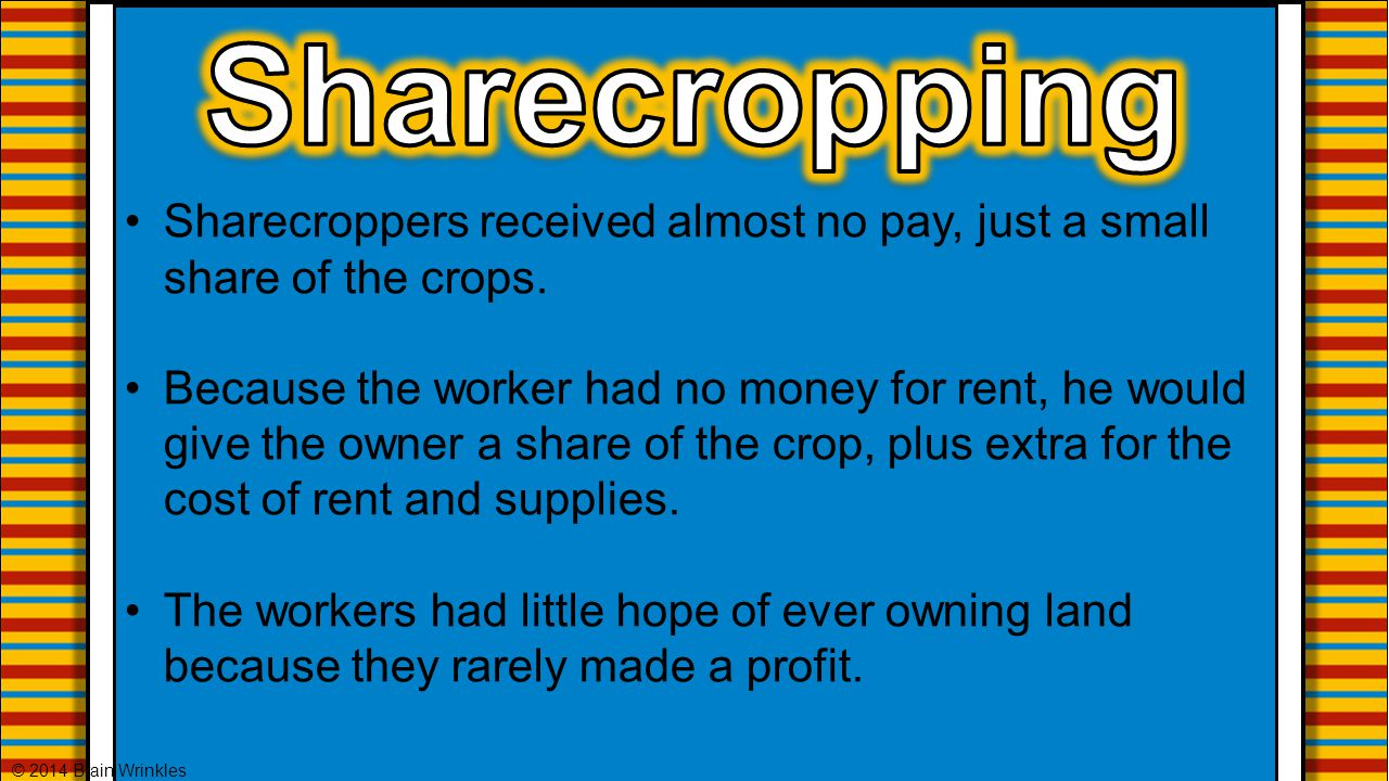 Sharecropping Sharecroppers received almost no pay, just a small share of the crops.