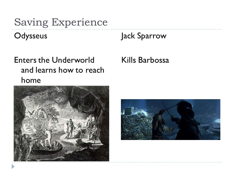Saving Experience Odysseus Enters the Underworld and learns how to reach home Jack Sparrow.