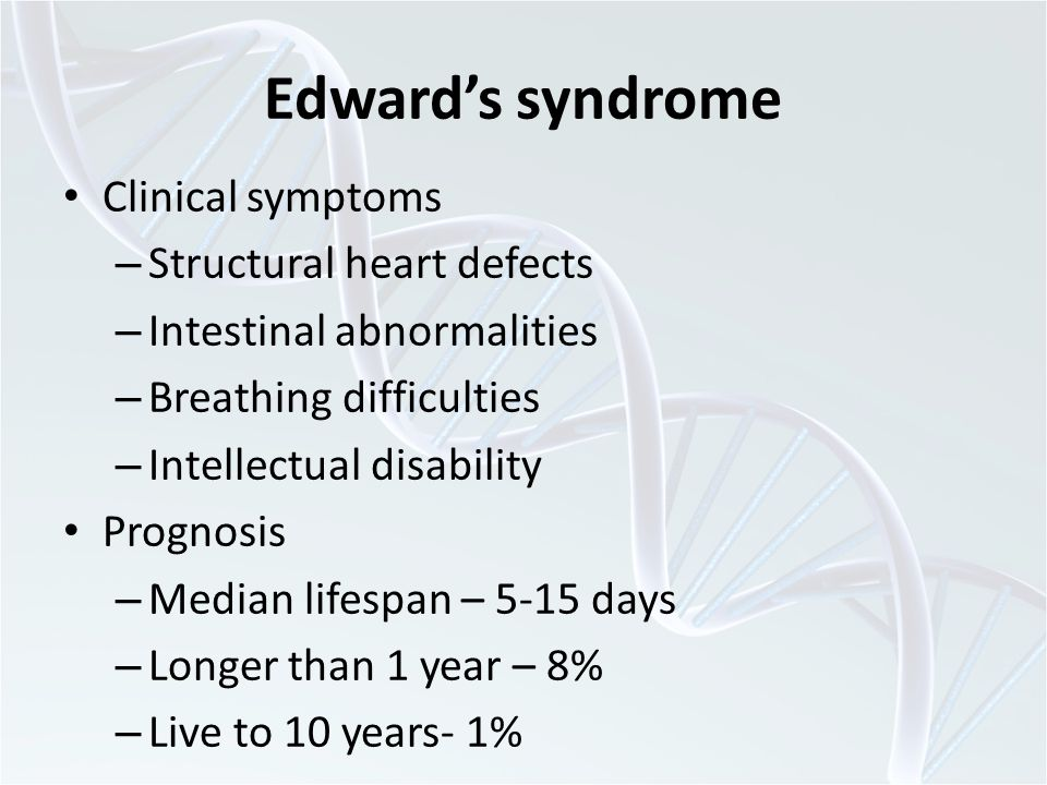 Edward's syndrome Clinical symptoms Structural heart defects