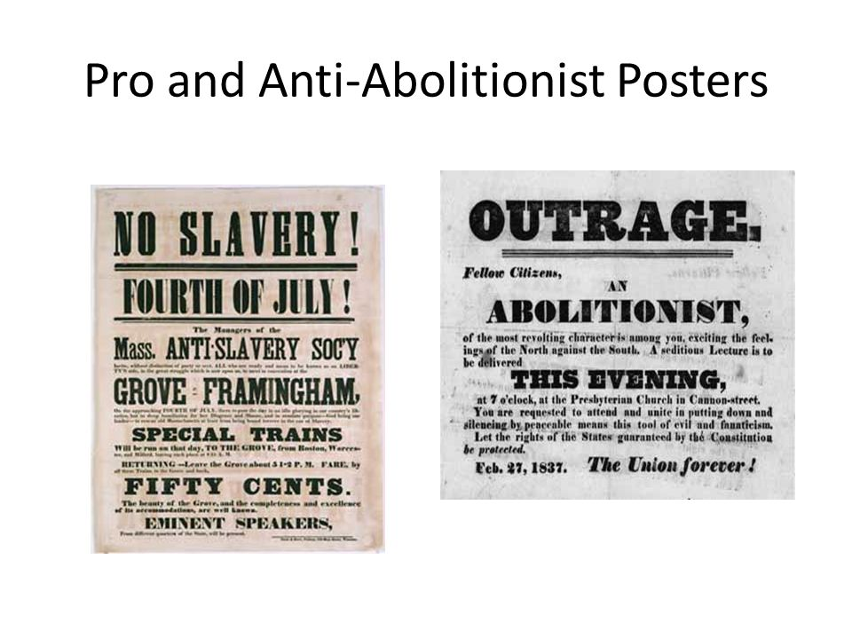 Pro and Anti-Abolitionist Posters