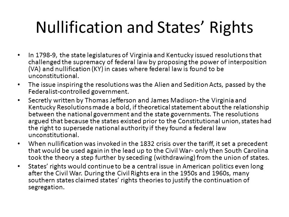 Nullification and States' Rights