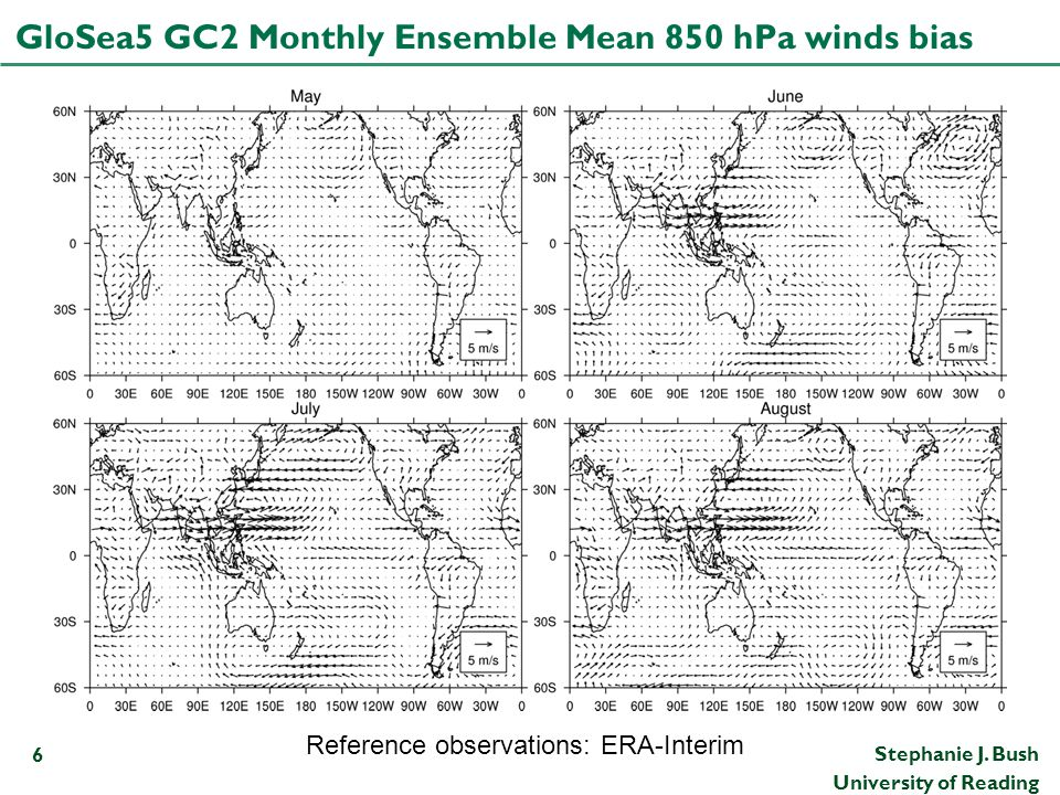 GloSea5 GC2 Monthly Ensemble Mean 850 hPa winds bias