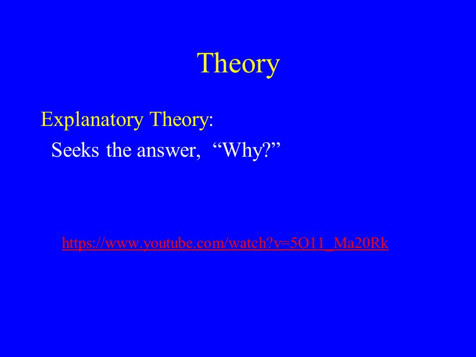 Theory Explanatory Theory: Seeks the answer, Why https://www.youtube.com/watch v=5O11_Ma20Rk