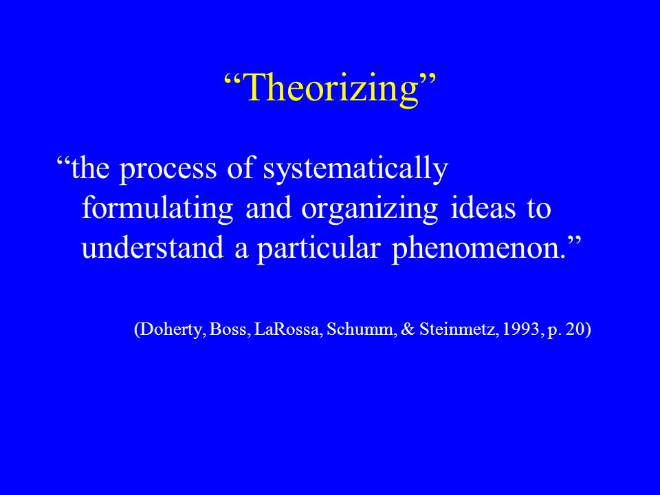 Theorizing the process of systematically formulating and organizing ideas to understand a particular phenomenon.