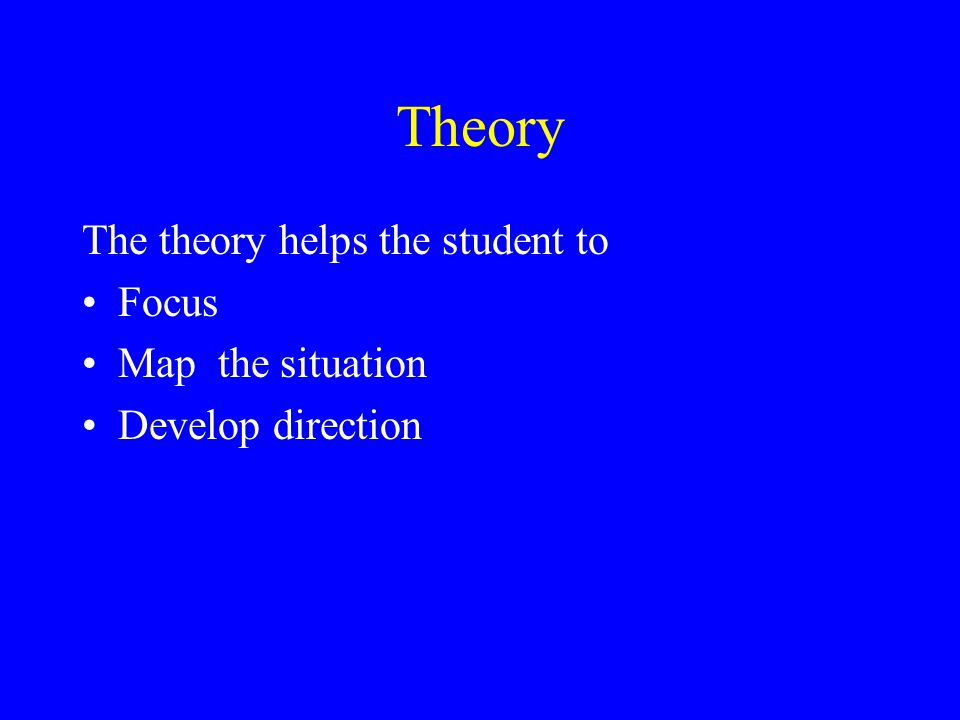 Theory The theory helps the student to Focus Map the situation