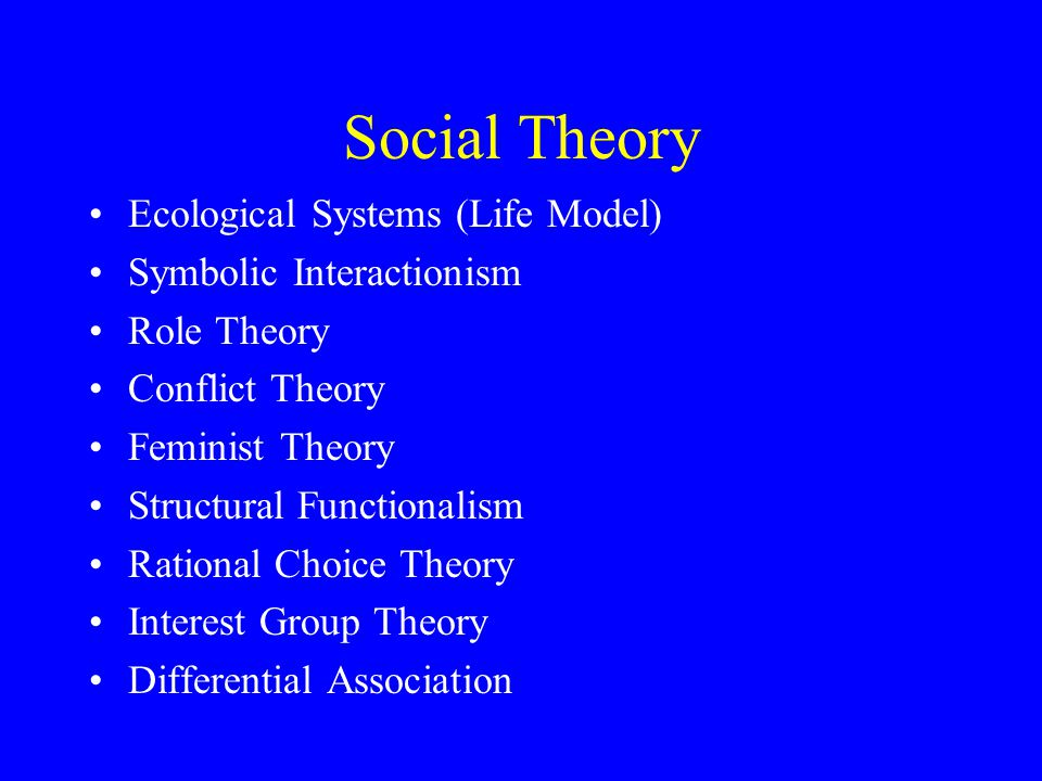 Social Theory Ecological Systems (Life Model) Symbolic Interactionism