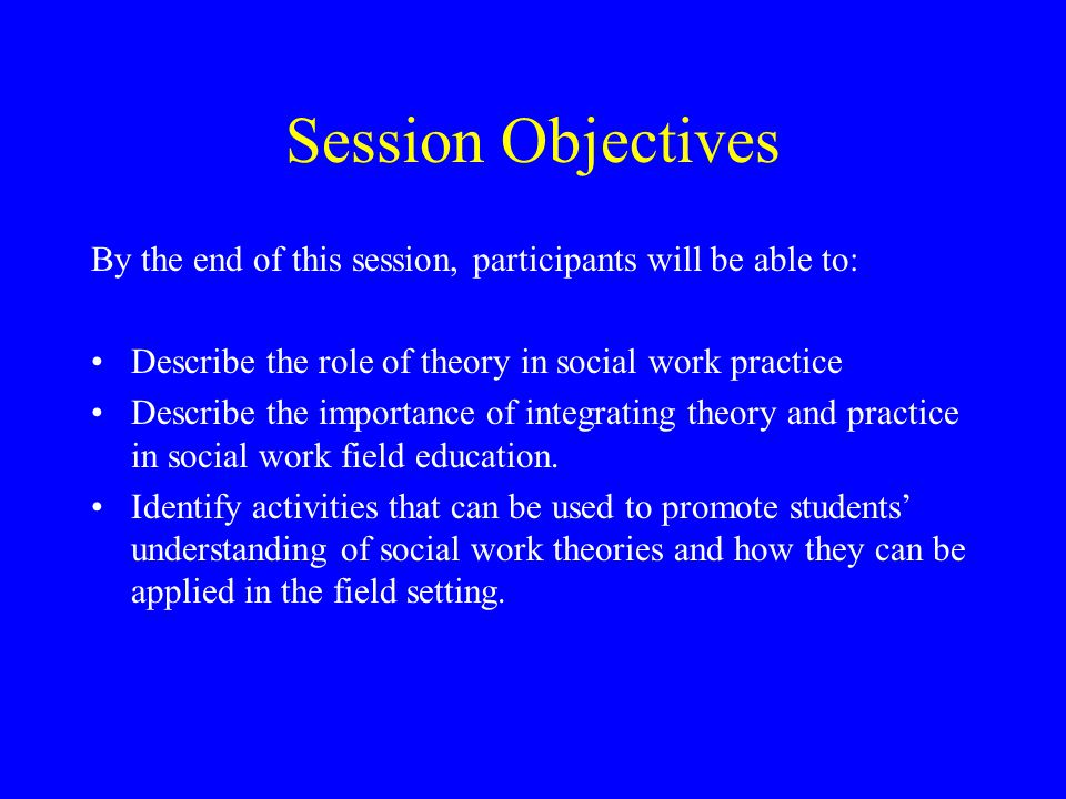 Session Objectives By the end of this session, participants will be able to: Describe the role of theory in social work practice.